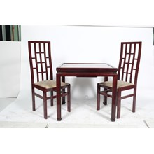 Retro/Mid-Century Mahogany Chinoiserie Game Table With Gilt Embossed Top And Two Original Chairs