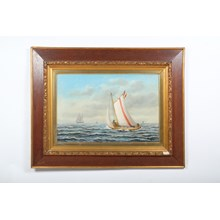 1890 Nautical Painting of Ships at Sea by Heinrich Reimers