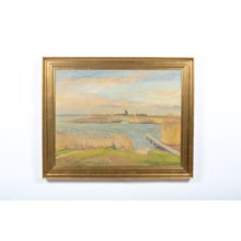 1947 Coastal Landscape with Windmill Painting by Christian Thornild