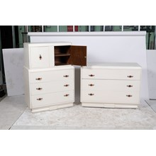 3 Piece White American Art Deco Dresser and Highboy