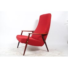 Mid-C. Bruno Mathsson Duxello Red Upholstered Armchair