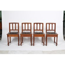 Set of 4 Unique Cathedral Back Prayer Chairs with Compartment Under Seat
