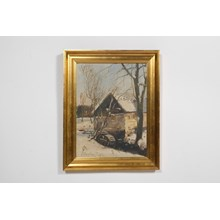 1922 Impressionist Painting of a Cabin in a Winter Landscape