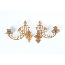 Pair of French Brass Hinged Wall Candle Holders