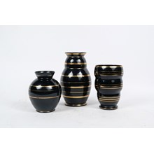 S/3 Mid-C. Black and Gold Glass Vessels