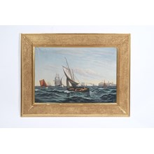 """Ships Coming to Harbor"" Large Seascape"