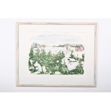 Bird Among Snowy Pines Contemporary Watercolor Print