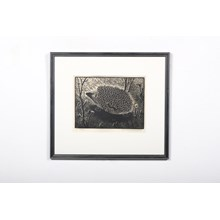 Black and White Hedgehog Woodblock Print by Kristina Anshelm