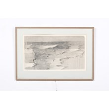 Mid-Century Abstract Cross Hatch Etching