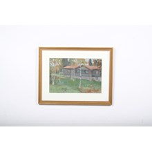 Impressionist Cabin in the Woods Landscape Lithograph