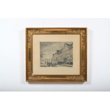 1900's Cityscape Etching in an Ornate Frame