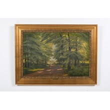"1894 ""Meeting By The Bridge"" Lush Forest Landscape"
