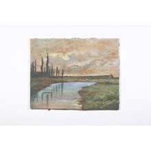 """Brooding Italian Cypress by The River"" Landscape"