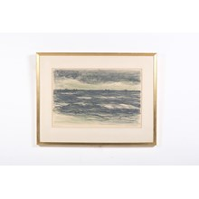 Brooding Ocean w/ Distant Ships on The Horizon Lithograph by Nills Nilsson