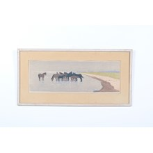 1952 Horses on the Beach Lithograph
