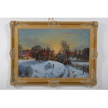 A Stroll in a Snowy Sunset Oil on Canvas by Rimmer P. Gustav
