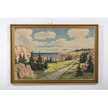 1940's Impressionist Seashore with Pine Trees Oil on Canvas by Jens Aabo