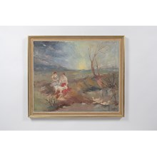 1957 Impressionist Landscape of Young Women w/ a Goat in the Field Oil on Canvas