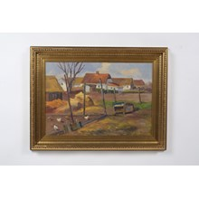 1932 Chickens in a Danish Village Landscape Oil on Canvas by Fritz Jacobsen