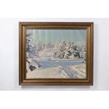 1930 Snowy Forest Path Winterscape by Peder Knudsen Oil on Canvas