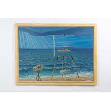 "1966 ""Painting the Sea"" Surreal Seascape Oil on Canvas"