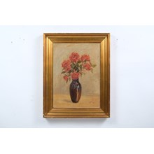 1920's Roses in a Vase Simple Still Life Oil on Canvas