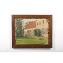 """A View of the Garden"" Danish Cottage in Spring Landscape Oil on Canvas"