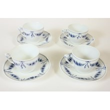 B&G Empire Blue Cups & Saucers, S/4