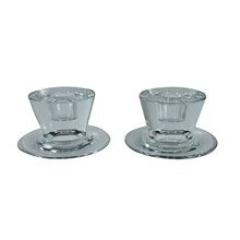 Handblown Glass Candleholders, Pair