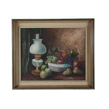 1951 Oil Painting 'Bowl of Fruit'