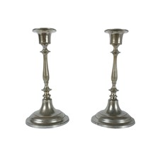 Jonkoping Nickel-Plate Candlestick, Pair