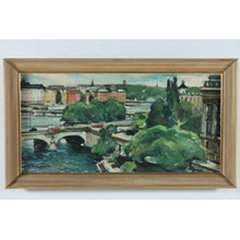 1958 Oil Painting 'Bridge in Stockholm'