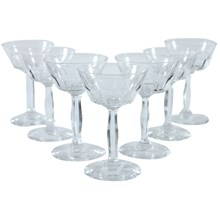 Cut Glass Tall Sherbet Glasses, Set of 7
