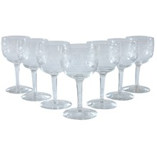 Etched Dessert Wine Glasses, Set of 7