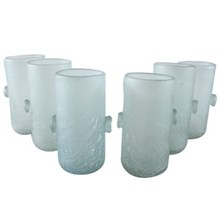 Frosted Hand Blown Water Goblets, S/6
