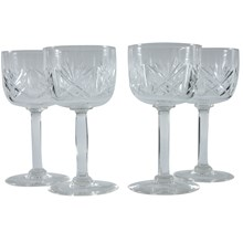 Cut Glass Coupe Wine Glasses, Set of 4