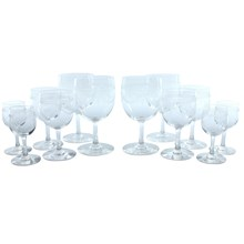 Etched Wine Glass Set, Set of 12