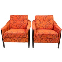Norwegian Orange & Red Armchairs, Pair