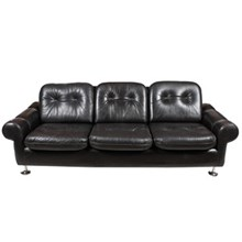 1970s Danish Retro Black Sofa