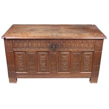 19th-C. Hand-Carved French Trunk
