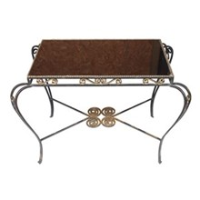 1940s French Iron & Glass Side Table