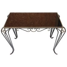 1940s French Iron & Mirror Top Table